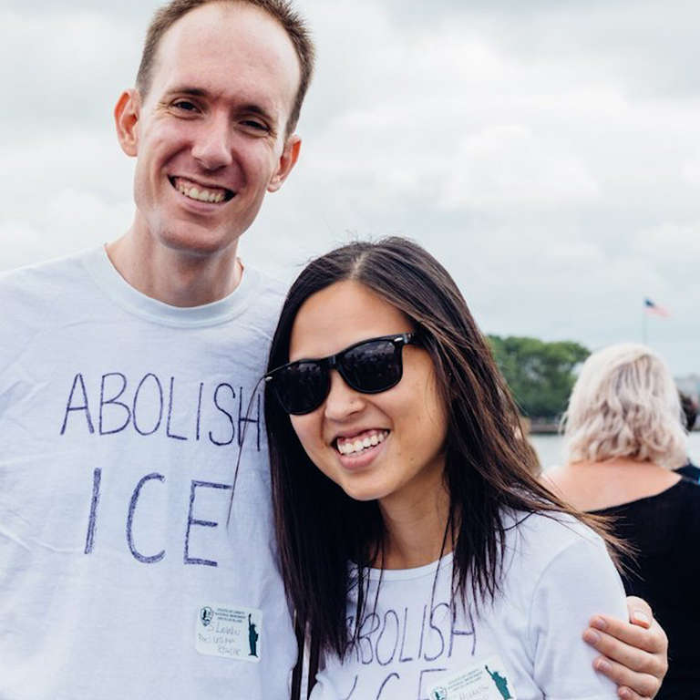 Couple Turned Away at Statue of Liberty for 'Abolish ICE' shirts